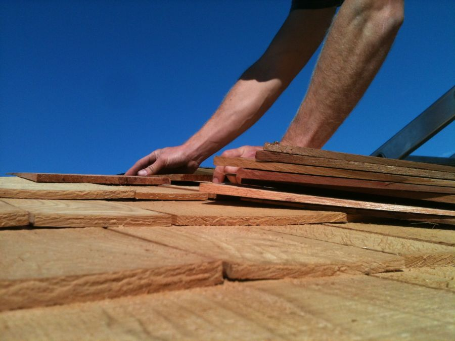 Completing the Shingle Roof on Greystones Garden Pagoda