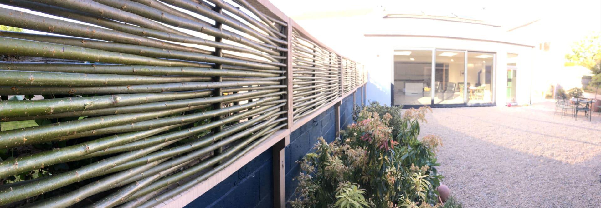 Willow privacy screen back garden